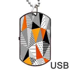 Contrast Hero Triangle Plaid Circle Wave Chevron Orange White Black Line Dog Tag Usb Flash (two Sides)