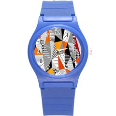 Contrast Hero Triangle Plaid Circle Wave Chevron Orange White Black Line Round Plastic Sport Watch (s) by Alisyart