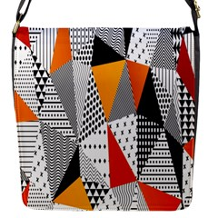 Contrast Hero Triangle Plaid Circle Wave Chevron Orange White Black Line Flap Messenger Bag (s) by Alisyart