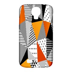Contrast Hero Triangle Plaid Circle Wave Chevron Orange White Black Line Samsung Galaxy S4 Classic Hardshell Case (pc+silicone)