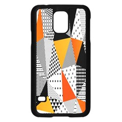 Contrast Hero Triangle Plaid Circle Wave Chevron Orange White Black Line Samsung Galaxy S5 Case (black)
