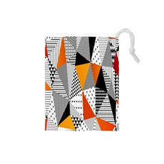 Contrast Hero Triangle Plaid Circle Wave Chevron Orange White Black Line Drawstring Pouches (small)  by Alisyart