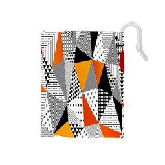 Contrast Hero Triangle Plaid Circle Wave Chevron Orange White Black Line Drawstring Pouches (medium)  by Alisyart