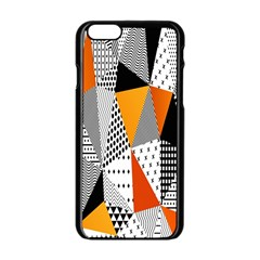 Contrast Hero Triangle Plaid Circle Wave Chevron Orange White Black Line Apple Iphone 6/6s Black Enamel Case