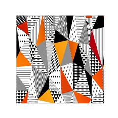 Contrast Hero Triangle Plaid Circle Wave Chevron Orange White Black Line Small Satin Scarf (square) by Alisyart