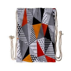 Contrast Hero Triangle Plaid Circle Wave Chevron Orange White Black Line Drawstring Bag (small) by Alisyart