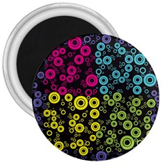 Circle Ring Color Purple Pink Yellow Blue 3  Magnets by Alisyart