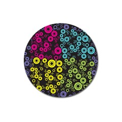 Circle Ring Color Purple Pink Yellow Blue Magnet 3  (round) by Alisyart