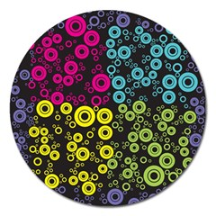 Circle Ring Color Purple Pink Yellow Blue Magnet 5  (round) by Alisyart