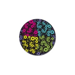 Circle Ring Color Purple Pink Yellow Blue Golf Ball Marker (10 Pack)