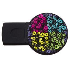 Circle Ring Color Purple Pink Yellow Blue Usb Flash Drive Round (2 Gb)