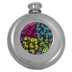 Circle Ring Color Purple Pink Yellow Blue Round Hip Flask (5 Oz)