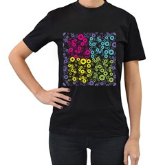 Circle Ring Color Purple Pink Yellow Blue Women s T Shirt (black)