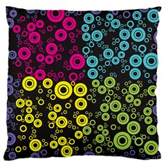 Circle Ring Color Purple Pink Yellow Blue Large Cushion Case (one Side) by Alisyart