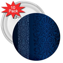 Fabric Blue Batik 3  Buttons (10 Pack)  by Alisyart