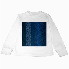 Fabric Blue Batik Kids Long Sleeve T Shirts by Alisyart