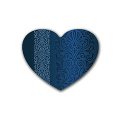Fabric Blue Batik Heart Coaster (4 Pack)  by Alisyart