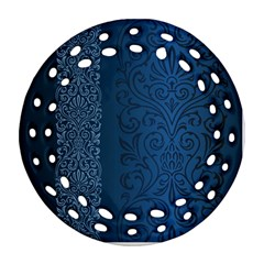 Fabric Blue Batik Round Filigree Ornament (two Sides) by Alisyart