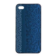 Fabric Blue Batik Apple Iphone 4/4s Seamless Case (black) by Alisyart