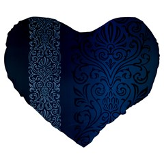 Fabric Blue Batik Large 19  Premium Flano Heart Shape Cushions by Alisyart