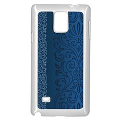 Fabric Blue Batik Samsung Galaxy Note 4 Case (white) by Alisyart