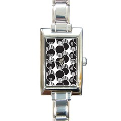 Floral Geometric Circle Black White Hole Rectangle Italian Charm Watch by Alisyart