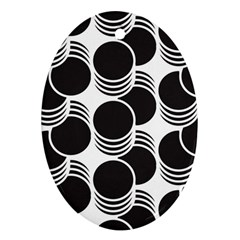 Floral Geometric Circle Black White Hole Ornament (oval) by Alisyart