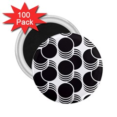 Floral Geometric Circle Black White Hole 2 25  Magnets (100 Pack)