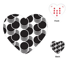 Floral Geometric Circle Black White Hole Playing Cards (heart)