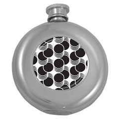 Floral Geometric Circle Black White Hole Round Hip Flask (5 Oz) by Alisyart