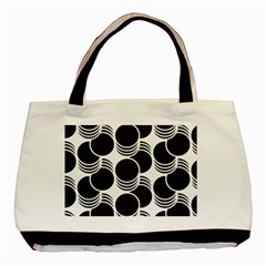 Floral Geometric Circle Black White Hole Basic Tote Bag (two Sides) by Alisyart