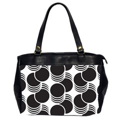 Floral Geometric Circle Black White Hole Office Handbags (2 Sides)