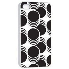 Floral Geometric Circle Black White Hole Apple Iphone 4/4s Seamless Case (white)