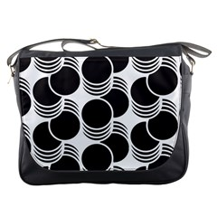 Floral Geometric Circle Black White Hole Messenger Bags by Alisyart