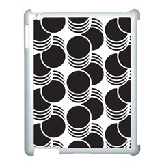 Floral Geometric Circle Black White Hole Apple Ipad 3/4 Case (white)