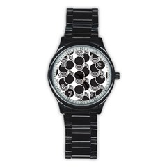 Floral Geometric Circle Black White Hole Stainless Steel Round Watch by Alisyart