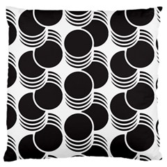 Floral Geometric Circle Black White Hole Large Flano Cushion Case (one Side) by Alisyart