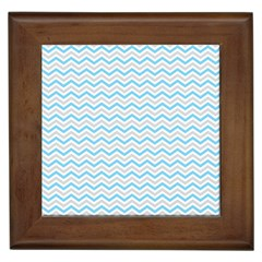 Free Plushie Wave Chevron Blue Grey Gray Framed Tiles by Alisyart