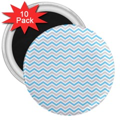 Free Plushie Wave Chevron Blue Grey Gray 3  Magnets (10 Pack)  by Alisyart