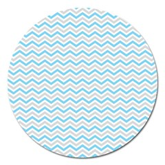 Free Plushie Wave Chevron Blue Grey Gray Magnet 5  (round) by Alisyart