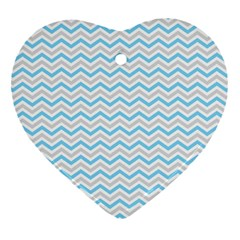 Free Plushie Wave Chevron Blue Grey Gray Heart Ornament (two Sides)