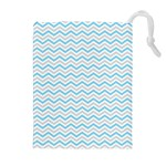 Free Plushie Wave Chevron Blue Grey Gray Drawstring Pouches (Extra Large) Front