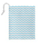 Free Plushie Wave Chevron Blue Grey Gray Drawstring Pouches (Extra Large) Back