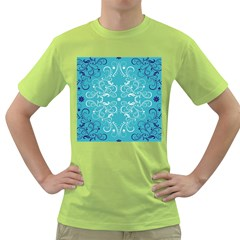 Flower Leaf Floral Love Heart Sunflower Rose Blue White Green T Shirt by Alisyart