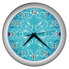 Flower Leaf Floral Love Heart Sunflower Rose Blue White Wall Clocks (silver)  by Alisyart