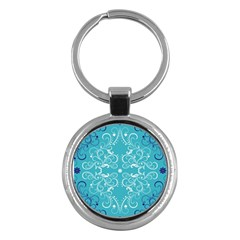 Flower Leaf Floral Love Heart Sunflower Rose Blue White Key Chains (round)  by Alisyart