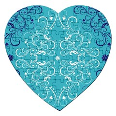 Flower Leaf Floral Love Heart Sunflower Rose Blue White Jigsaw Puzzle (heart) by Alisyart