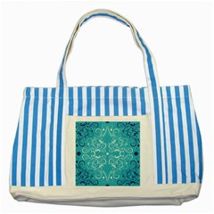 Flower Leaf Floral Love Heart Sunflower Rose Blue White Striped Blue Tote Bag by Alisyart