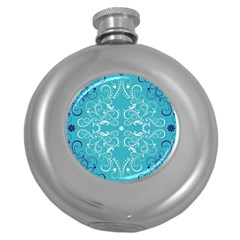 Flower Leaf Floral Love Heart Sunflower Rose Blue White Round Hip Flask (5 Oz) by Alisyart