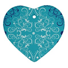 Flower Leaf Floral Love Heart Sunflower Rose Blue White Heart Ornament (two Sides) by Alisyart